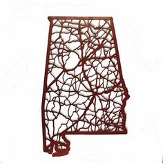 Alabama Laser Cut Wooden Wall Map Crimson | State Traditions