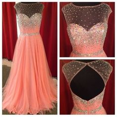 Beautiful Prom Dress, blush pink prom dresses backless evening gowns sexy formal dresses beaded prom dresses sequins evening gown open backs evening dress tulle prom dresses Meet Dresses Peach Prom Dresses, Sexy Formal Dresses, Prom Dresses 2016, A Line Prom Dresses, Prom Party Dresses, Dance Dresses, Formal Gowns, Formal Prom, Pink Dress