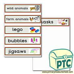 Classroom Equipment Drawer Labels & Posters - Primary Treasure Chest Teaching Activities, Teaching Ideas, Drawer Labels, Classroom Signs, Classroom Organisation, Treasure Chest, Crafts For Kids, Bubbles, Posters