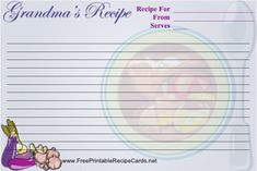 Share grandmother's favorite recipes with this Grandma recipe card. Free to download and print