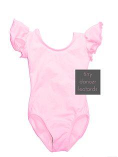 LIGHT PINK Toddler & Girls Leotard Flutter / Ruffle Short Sleeve for Ballet and Gymnastics