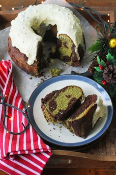 Chocolate Matcha Bundt Cake Recipe | Soft and delicious bundt cake with rich chocolate and matcha flavours marbled within!