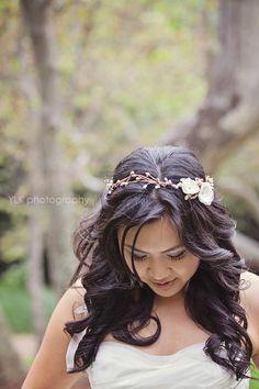 floral headband - bridal halo. $40.00, via Etsy.
