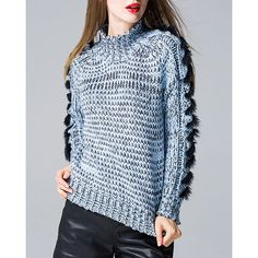 Chic Turtleneck Colormix Fringed Long Sleeve Sweater For Women