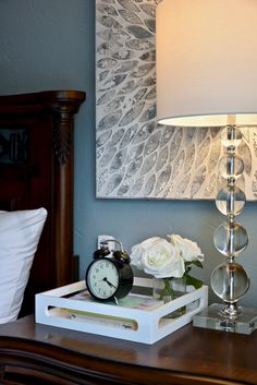 Transitional bedroom project by Dominika Pate Interiors Master Bedroom, Bedroom Decor, Transitional Bedroom, Interior Design Services, Dark Wood, Floating Nightstand, Window Treatments, Upholstery, Interior Decorating