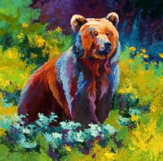 Wildflower Grizz Painting by Marion Rose