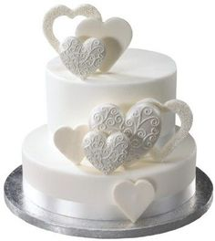 Fancy Scroll Hearts Made of Gum Paste 12ct for Weddings and Cake Decorating - Ships Insured!
