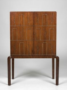 Axel Einar Hjorth; Rosewood and Mahogany Cabinet with Silver Inlay by Nordiska Kompaniet for The Paris International Exhibition, 1937.