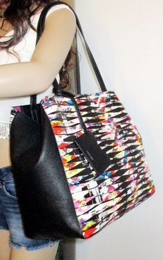 2a0b2a26f6e Nwt nine west bold and sexy chic multi-color x large city tote bag handbag  purse