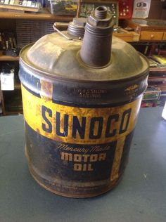 Vintage Sunoco Mercury Motor Oil 1946 5 Gallon Can Gas Station Advertising Sign | eBay