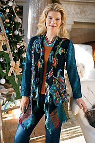 Embroidered Paisley Jacket by soft surroundings