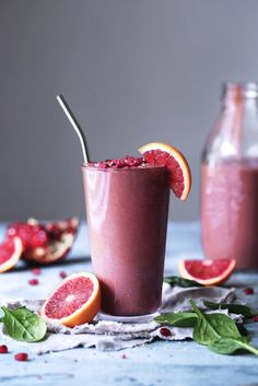 Blood Orange, Berry, & Spinach Smoothie   Vegan, dairy free, gluten free, paleo, and vegetarian.   Click for healthy recipe.   Via Wife Mama Foodie