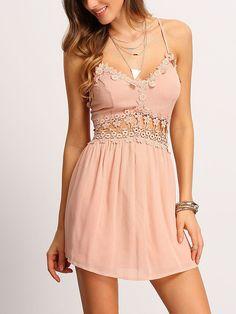 Sexy V-Neck Lace Strap Hollow Mini Dress