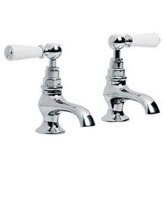 Lefroy Brooks Classic white lever basin pillar taps WL8022, - Holloways of Ludlow