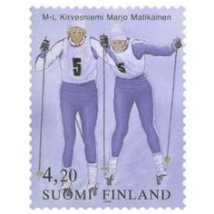 Postimerkki: Marja-Liisa Kirvesniemi ja Marjo Matikainen | Suomen postimerkit Lillehammer, Winter Sports, Best Memories, Finland, Stamps, Paper, Seals, Winter Sport, Postage Stamps