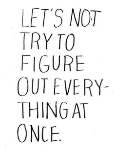 let's not try to figure out everything at once.
