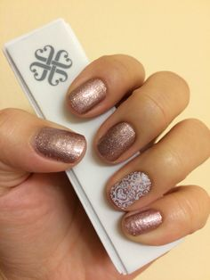 Rose Gold Sparkle and White Romance Jamberry Nail Wraps! Check them out at https://www.facebook.com/LouiseJamberryNails