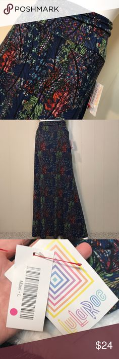 Lularoe maxi skirt Lovely leaf pattern with beautiful colors. Brand new. Bundling is fun; check out my other items & save!  Home is smoke free/ cat friendly. No price talk in comments. No trades or holds. LuLaRoe Skirts Maxi