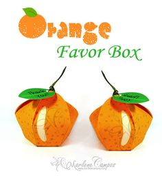 Orange Printable Favor Box, Gift, Favor, Birthday Party, Anniversary, Party Supply - Paper Art by Marlene Campos