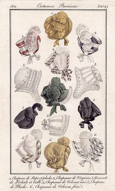 1812 fashion plate - vintage bonnets