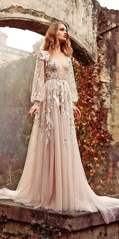 18 Gorgeous Floral Applique Wedding Dresses - Trend For 2016 ❤ If you are looking for a feminine and elegant gown pay attention to the floral applique wedding dresses. See more: http://www.weddingforward.com/floral-applique-wedding-dresses/ #wedding #dresses