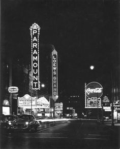 Atlanta's Theater District at night, 1950