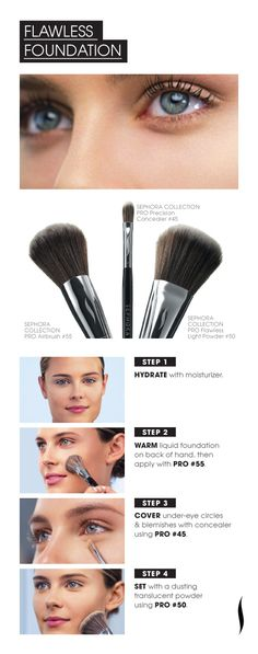 PRO Brush how-to :: Flawless Foundation using Sephora brushes All Things Beauty, Beauty Make Up, My Beauty, Beauty Secrets, Beauty Hacks, Hair Beauty, Beauty Tips, It Cosmetics Brushes, Makeup Brushes