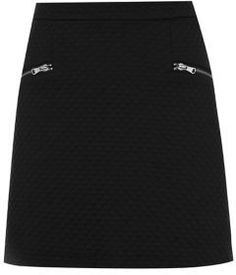 Black Quilted Zip Pocket A-Line Mini Skirt