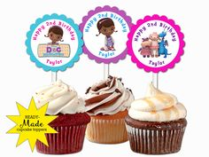 Doc McStuffins personalized cupcake toppers birthday party favors decors  | eBay