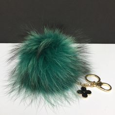 Fur Pom Pom keychain luxury bag charm pendant by YogaStudio55