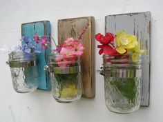 Dinning room decoration shabby chic rustic wooden vases sconce mason jar wood vase wall decor cottage decor - set of THREE by UncleJohnsCabin on Etsy Shabby Chic Rustique, Shabby Chic Homes, Shabby Chic Decor, Rustic Decor, Farmhouse Decor, Mason Jar Sconce, Hanging Mason Jars, Casas Shabby Chic, Wood Vase