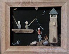 This is a unique pebble art wall hanging that can also stand on any flat surface, made entirely by natural, non-processed materials. It contains pebbles, leaves, driftwood, wood and shells collected by me from the woods and beaches of mount Pelion, near the city of Volos, Greece. Family In The Park Its dimensions are 28 X 33 cm.