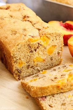 Peach Bread from - This moist and flavorful quick bread is full of ripe, juicy peaches and salty roasted pecans. It's a wonderful way to enjoy summer's best peaches! Easy Bread Recipes, Banana Bread Recipes, Quick Bread, Baking Recipes, Nutella Recipes, Baking Ideas, Sweet Desserts, Just Desserts, Dessert Recipes