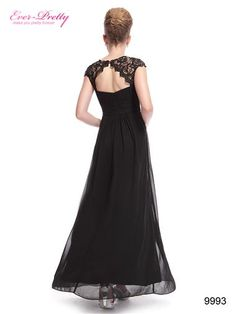 Black Lacey Neckline Open Back Ruched Bust Evening Dress - Ever-Pretty US
