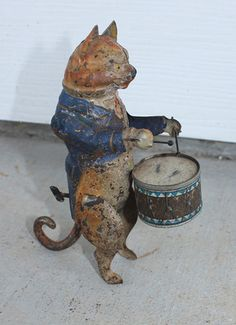 Antique Vintage Toy Germany Gunthermann Tin Clockwork Wind Up Cat Drummer | eBay