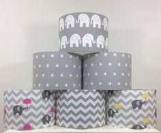 Grey Nursery Lampshade Lightshade Handmade Lamp shade Grey Chevron Grey Elephant Grey Stars Grey Chevron Elephant Grey Zigzag Baby Shower