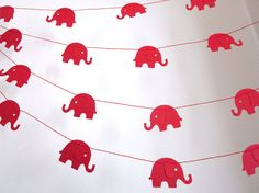 Paper Garland  Red Elephants on Parade