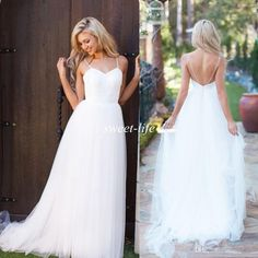 2015 White Tulle Simple Wedding Dresses Cheap Sexy Lace Spaghetti Straps Backless A-Line Floor Length Boho Beach Garden Wedding Bridal Gowns Online with $103.67/Piece on Sweet-life's Store | DHgate.com