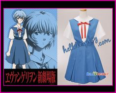The Neon Genesis Evangelion Cosplay Rei Ayanami Uniform Costume Blue Dress | eBay