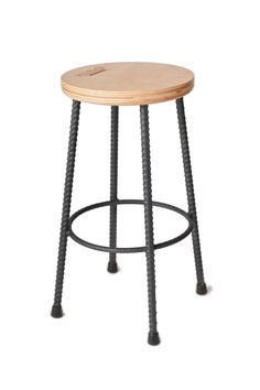 Contemporary hand built stool from rebar and laminated wood.  Made from double layered birch plywood and heavy duty steel rebar.