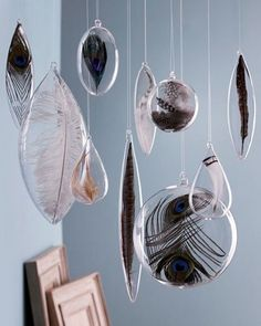 12 Ways To Nail Sophisticated Holiday Decor, DIY and Crafts, Peacock feather ornaments for event decor or gifts for guests or bridal party. Holiday Ornaments, Glass Ornaments, Christmas Crafts, Diy Ornaments, Hanging Ornaments, Christmas Wood, Christmas Balls, Homemade Christmas, Holiday Decorations