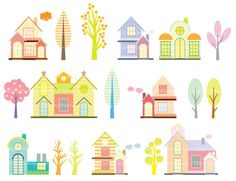 Lovely Houses clip art by idadrawing on Etsy, $3.00