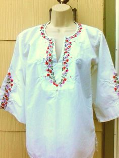 Vintage 1970s Mexican Hippie Boho Blouse Top Shirt Small That 70s Show  Medium