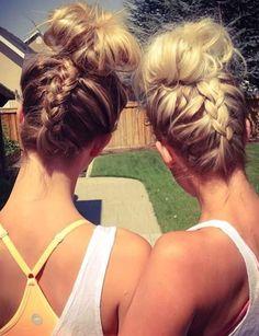 Dutch braids into messy buns coiffure undercut, coiffure sport, coiffure fa Chignon Headband, Workout Hairstyles, Hair Affair, Pretty Hairstyles, Cute Sporty Hairstyles, Sport Hairstyles, Summer Hairstyles, Hairstyle Ideas, Hair Day
