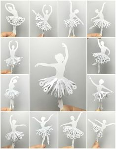 Paper Ballerina Doll with Mandala Skirt - Paper Cutting Patterns. A collection of 12 Beautiful paper ballerina silhouette with special designed mandala skirt paper cutting patterns. Special designed for moderate paper cutters. Ballerina Silhouette, Diy And Crafts, Crafts For Kids, Arts And Crafts, Paper Crafts, Paper Cutting Patterns, Paper Patterns, Doll Patterns, Snowflake Template