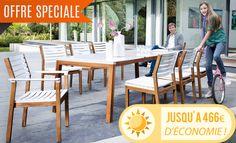 Ensemble de jardin Magnus en teck et résine : table 220 x 95 + 6 chaises + 2 fauteuils