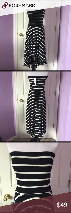 """Black & White Strapless Striped High Low Dress Aqua by Bloomingdale's Strapless High Low Dress NWT, Excellent Condition, Bust Measures 13"""", Waist 13 1/2"""", 28"""" length(front), 42"""" lengh(back) 76% Rayon, 18% Polyester, 6% Spandex Aqua Dresses High Low"""