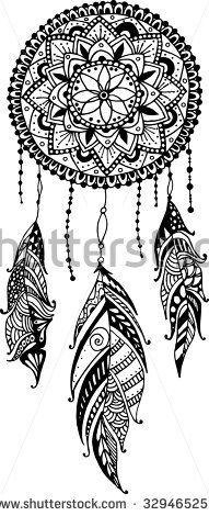 Hand-drawn mandala with ink dreamcatcher with feathers. Ethnic illustration, tribal