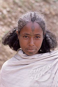 Africa | Young Gourage woman with facial tattoo, Lasta Valley, Wollo region, Ethiopia | ©Robert Harding Picture Library