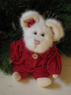 Retired Boyd White Christmas Mouse  with Original by VintageABCs, $12.00